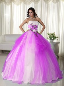 Pretty Strapless White and Lavender Tulle Quinceanera Gown with Appliques