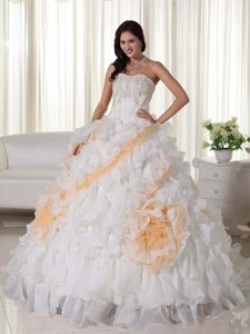 Dreamy Ruffled Appliqued White Quinceanera Gown Court Train