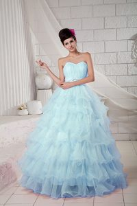 Latest Hot Sale Tiered Light Blue Ball Gown Quinceanera Dresses