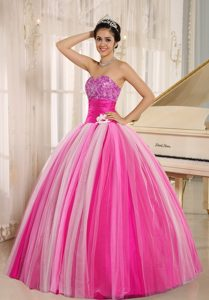 Perfect Multi-color Tulle Ball Gown Quinces Dresses with Flower Patterns