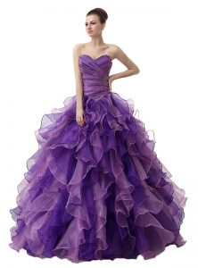 Nice Floor Length Purple Quinceanera Dress Sweetheart Sleeveless Lace Up