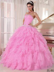 Baby Pink Ball Gown Strapless Quinceanera Gowns in with Beading