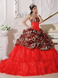Nice Red Ball Gown Sweetheart Dress for a Quince in Leopard and Organza