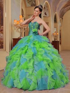 Well-packaged Colorful Sweetheart Quince Dresses with Ruffles