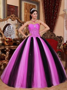 Breathtaking Multi-colored Sweetheart Beading Quinceanera Dress in Tulle