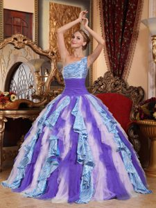 Vintage-inspired Multi-color One Shoulder Sweet Sixteen Quinceanera Dress