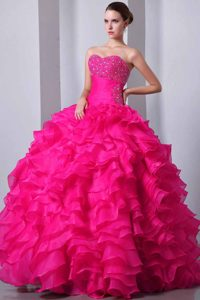 Coral Red Sweetheart Quinceanera Dress Beaded and Ruffled on Sale