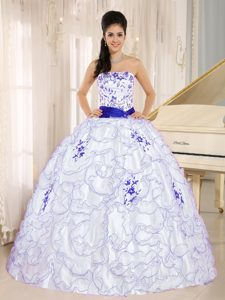 White Strapless Quinceanera Dress with Embroidery on Promotion