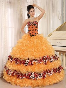 Orange Sweetheart Leopard Quinceanera Dresses with Ruffles and Appliques