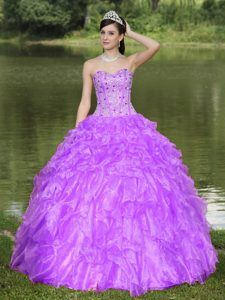 Purple Sweetheart Beaded Quinceanera Dresses with Ruffled Layers