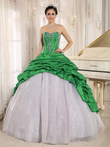Green and White Quinceanera Dress with Embroidery and Pick-ups for Cheap