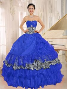 Blue Sweetheart Ruffled Zebra Quinceanera Dresses with Beading for Cheap