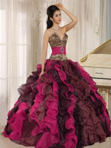 Wholesale Multicolor Leopard and Beaded Quinceanera Dresses with Ruffles