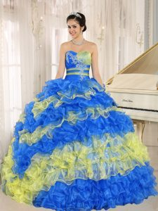 Multicolor Sweetheart Quinceanera Dress with Ruffles and Appliques for Cheap