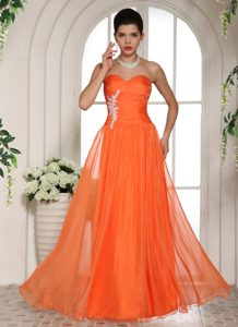 Discount Orange Red Sweetheart Full-length Dress for Prom with Appliques