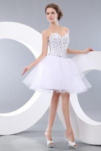White Short Sweetheart Mini-length Beaded Prom Dresses for Cheap