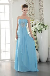Aqua Blue Empire Sweetheart Chiffon Beaded and Ruched Prom Dress on Sale