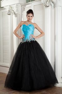 New Baby Blue and Black A-line Sweetheart Tulle Prom Dress with Appliques