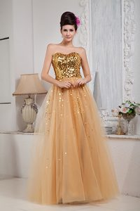Gold A-line Sweetheart Tulle Prom Celebrity Dress with Sequins on Promotion