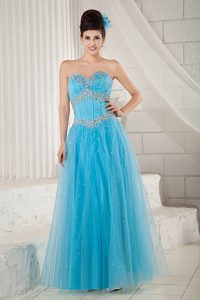 Beautiful Aqua Blue A-line Sweetheart Tulle Beaded Prom Dress on Promotion