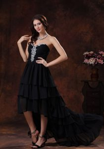 Sweetheart Black High-low Chiffon 2013 Prom Dress for Women with Rhinestones