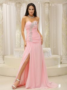 Formal Sweetheart Neck Slitted Beaded Pink Prom Dress for Seniors on Sale
