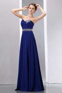 New Arrival Beaded Long Royal Blue Chiffon Prom Gown Dresses