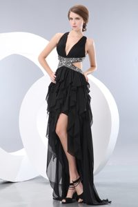 Best Seller Beaded High-low Chiffon Black Prom Dress Crisscross Back