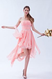 Latest Chiffon Watermelon High-low Semi-Formal Prom Dress with Beads