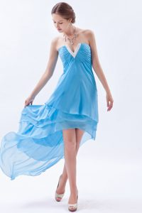 Perfect Slot Neck High-low Chiffon Baby Blue Prom Dresses for Wholesale