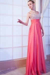 Special Style Straps Beaded Watermelon Long Chiffon Prom Attire for Girls