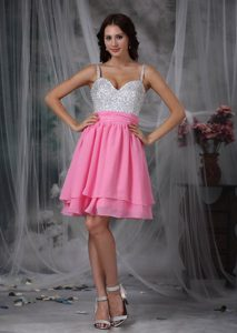Cute Side Zipper Pink and White Chiffon Short Prom Attire Fast Shipping