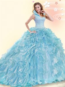 Extravagant Aqua Blue High-neck Backless Beading and Ruffles Quince Ball Gowns Brush Train Sleeveless