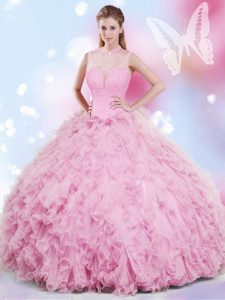Pretty Rose Pink Party Dress Military Ball and Sweet 16 and Quinceanera with Beading and Ruffles Halter Top Sleeveless Lace Up