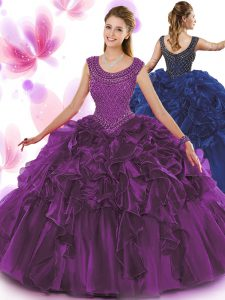 Scoop Floor Length Zipper Vestidos de Quinceanera Dark Purple for Military Ball and Sweet 16 and Quinceanera with Beading and Ruffles