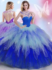 Multi-color High-neck Zipper Beading and Ruffles Quinceanera Dress Sleeveless
