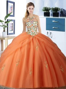 Halter Top Orange Lace Up Sweet 16 Dress Embroidery and Pick Ups Sleeveless Floor Length