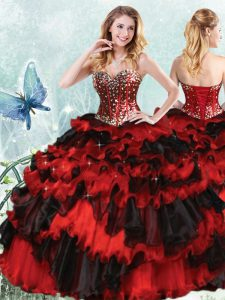Free and Easy Red And Black Lace Up Sweetheart Beading and Ruffled Layers and Sequins Ball Gown Prom Dress Organza Sleeveless