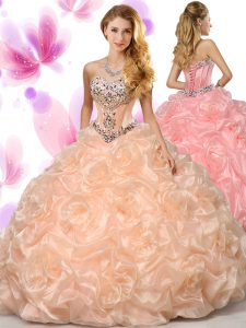 Edgy Sleeveless Lace Up Floor Length Beading and Pick Ups Teens Party Dress