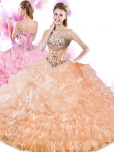 Shining Orange Organza Lace Up Sweetheart Sleeveless Floor Length Sweet 16 Dresses Beading and Ruffled Layers and Pick Ups
