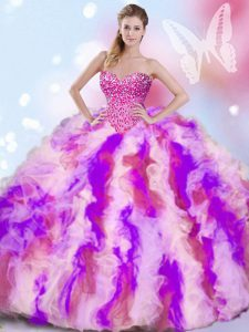 Decent Organza Sleeveless Quinceanera Dresses and Beading and Ruffles