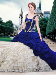 Blue And White Ball Gowns Organza and Taffeta Straps Sleeveless Beading and Ruffles and Pick Ups With Train Lace Up Quince Ball Gowns Brush Train