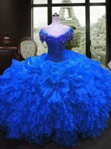 Hot Selling Cap Sleeves Beading and Ruffles Lace Up Quinceanera Dress