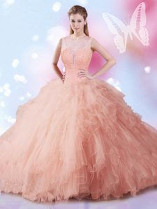 Sleeveless Floor Length Beading and Ruffles Lace Up Quinceanera Dresses with Peach