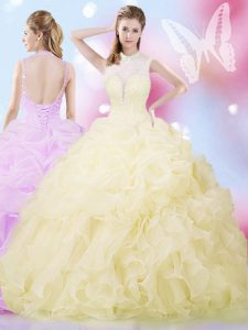Clearance Beading and Ruffles and Pick Ups Ball Gown Prom Dress Light Yellow Lace Up Sleeveless Floor Length