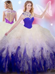 Sumptuous Sleeveless Tulle Floor Length Zipper Ball Gown Prom Dress in White And Purple with Beading and Ruffles