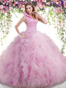 Backless Tulle Sleeveless Floor Length 15 Quinceanera Dress and Beading and Ruffles