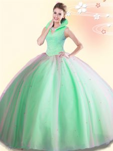 Ball Gowns Quinceanera Gown High-neck Tulle Sleeveless Floor Length Backless