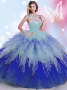 Sleeveless Floor Length Beading and Ruffles Zipper 15 Quinceanera Dress with Multi-color