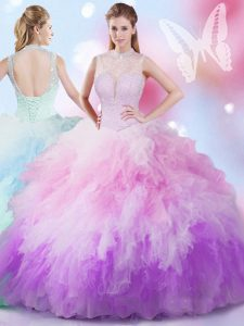 Multi-color Ball Gowns Tulle High-neck Sleeveless Beading and Ruffles Floor Length Lace Up Quinceanera Gowns